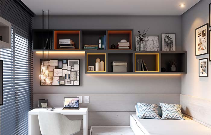 Um toque a mais para a decor: nichos pretos com revestimento interno colorido