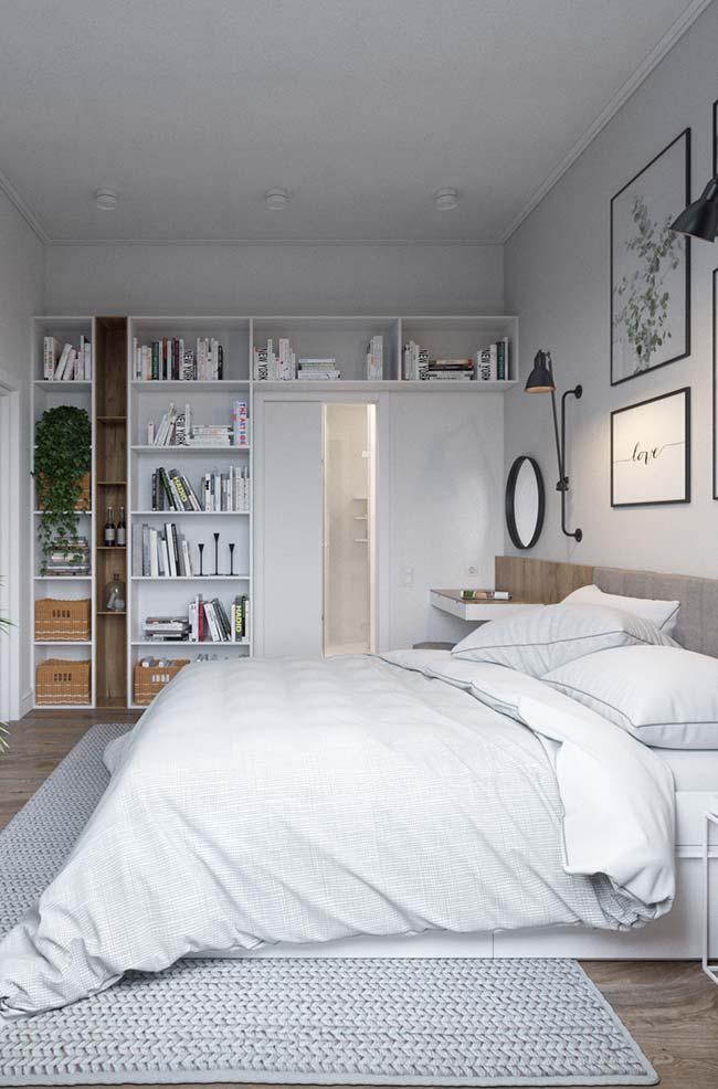 """Nicho para quarto: substituir as estantes por nichos é uma opção para deixar o quarto mais """"leve"""" e organizar tudo o que precisa"""