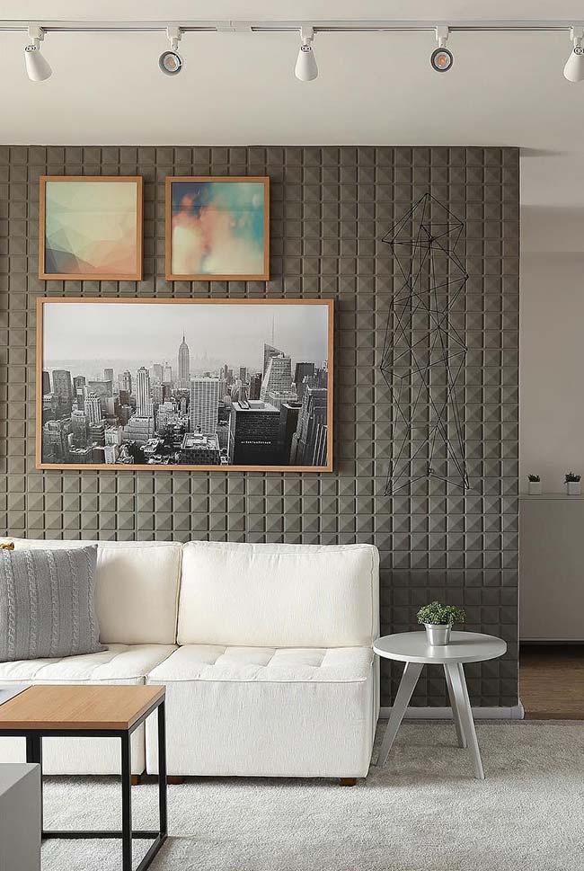 Trio de quadros sobre a parede 3D