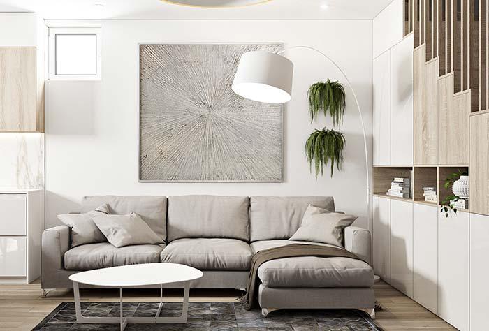 Profundidade e ilusão de ótica atrás do sofá, mas sem perder o foco na decoração