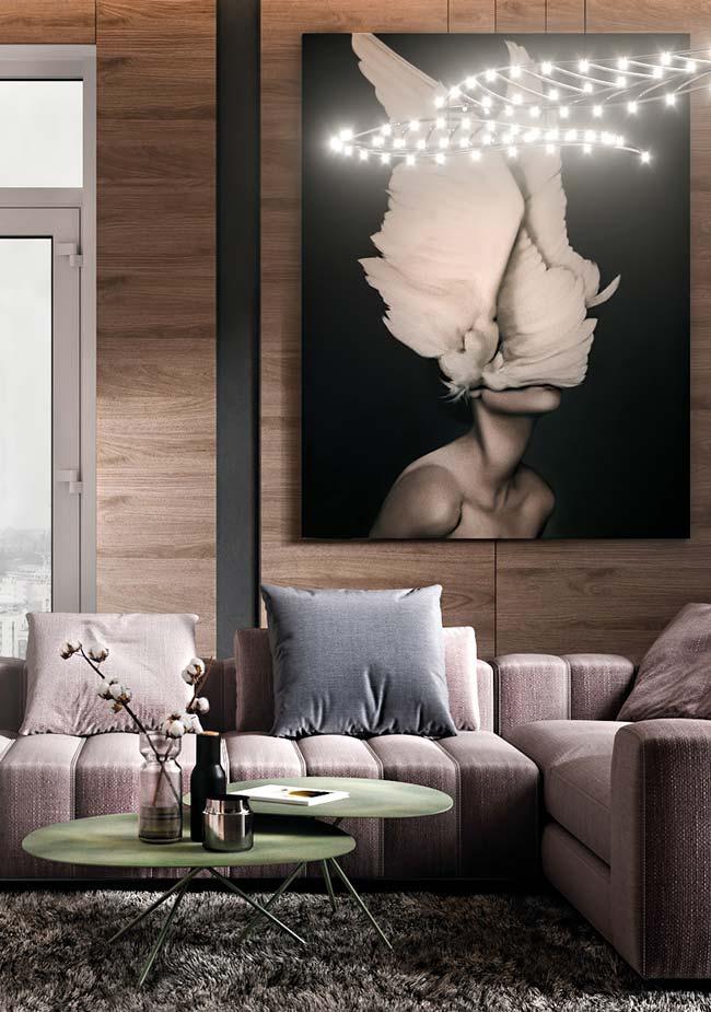 Quadro grande para sala de estilo moderno e iluminado