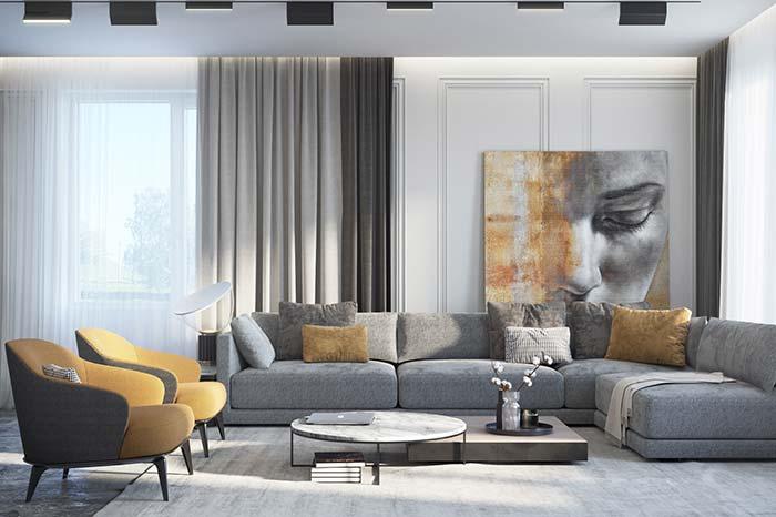 Para acompanhar com o olhar: o efeito visual dessa sala é incrível, a mudança de tonalidades do quadro grande é perfeitamente acompanhada pela decoração