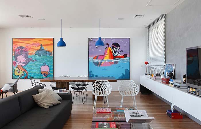 Para quem busca algo mais moderno, colorido e inspirado na pop arte esses quadros são uma ótima referência