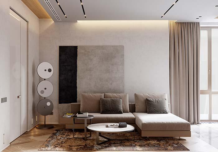 Se ficar na dúvida quando for comprar o quadro grande para sala, aposte em um de formas abstratas e cores neutras