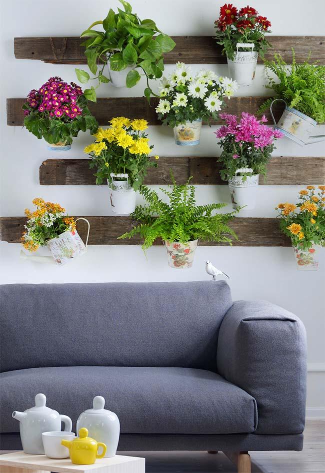 jardim vertical de pallet de estilo rústico