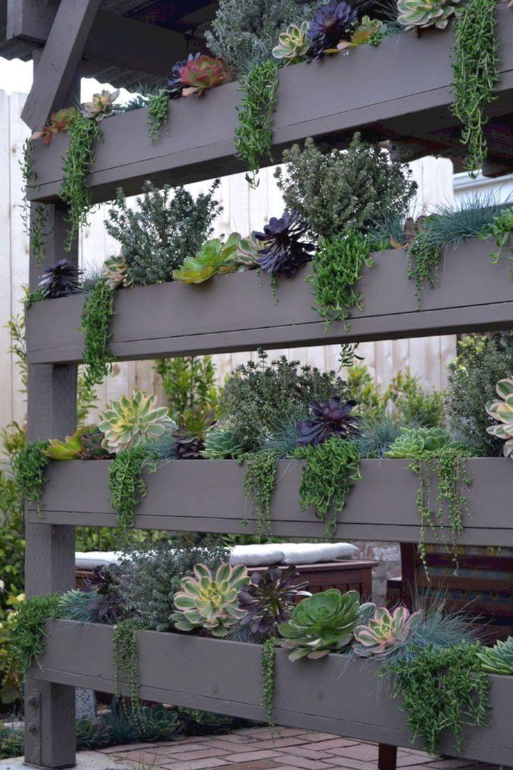 Nessa imagem, o jardim vertical de pallets funciona como uma divisória de ambientes