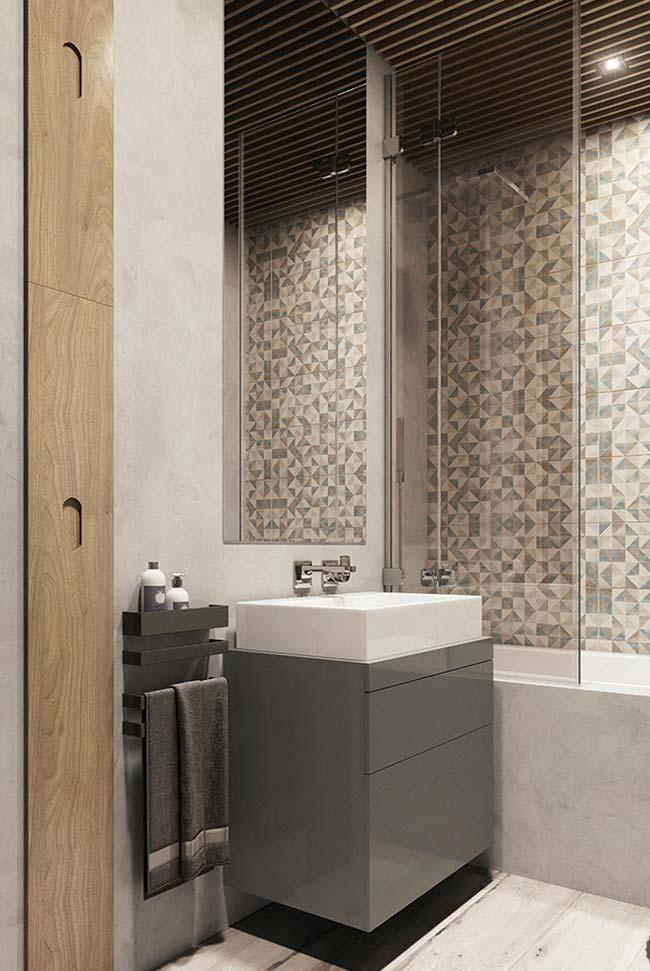 Banheiro com gabinete laqueado