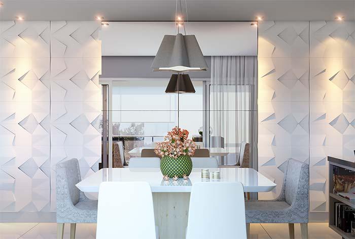 Móveis laqueados: mesa laqueada branca reflete tudo o que está a sua volta
