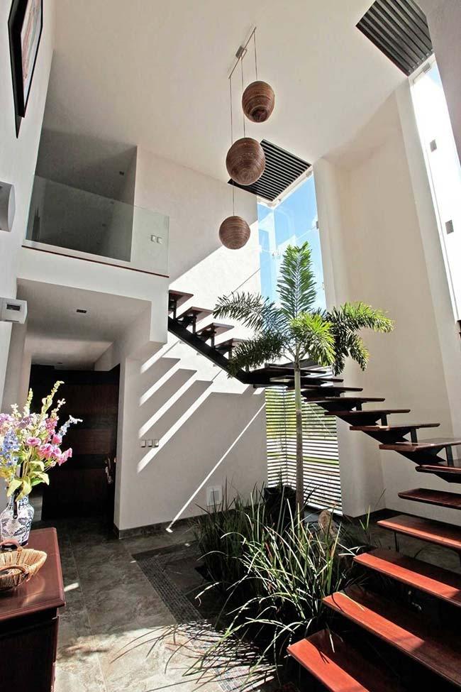 A escada contorna esse jardim de palmeira e moreias banhadas pela luz do sol