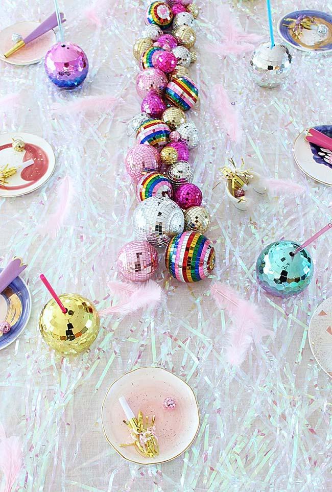 mesa de Natal inspirada na temática disco