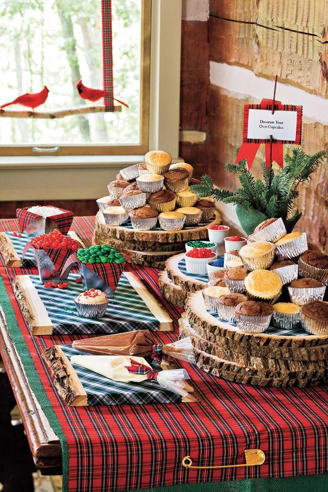 Ideia de mesa de Natal rústica