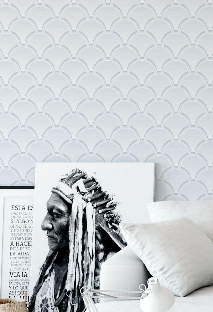 Papel de parede 3D em cores neutras são soluções ideais para quem busca uma decoração clean, mas marcante