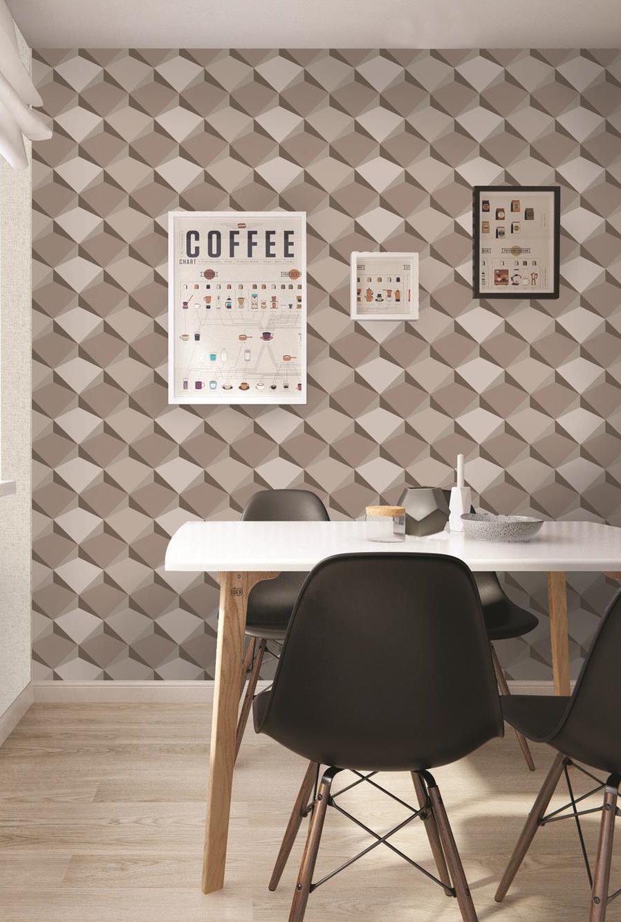 Palavra 'café' e tons de marrom se completam nessa parede 3D