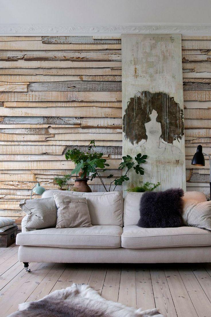 Ripas desgastadas de madeira para decorar a sala; efeito realista provocado pelo papel de parede 3D