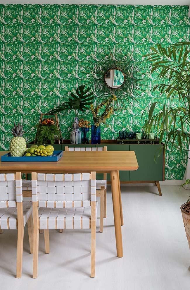 Um papel de parede verde em 3D para a sala de jantar