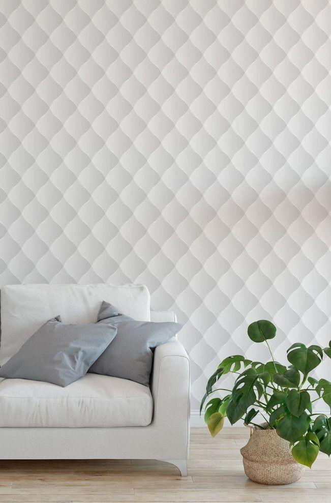 Papel de parede 3D em uma combinação perfeita entre estampa e cor neutra para a sala de decor clean