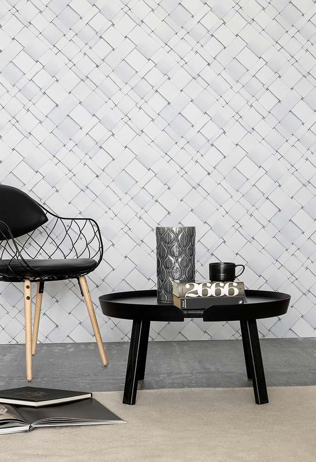 Decoração preta e branca valorizada pelo efeito tridimensional do papel de parede 3D