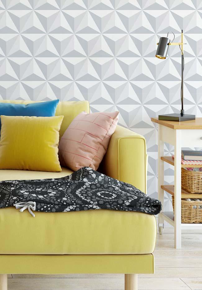 Com o papel de parede 3D você modifica totalmente o visual da sua sala de estar gastando bem pouco