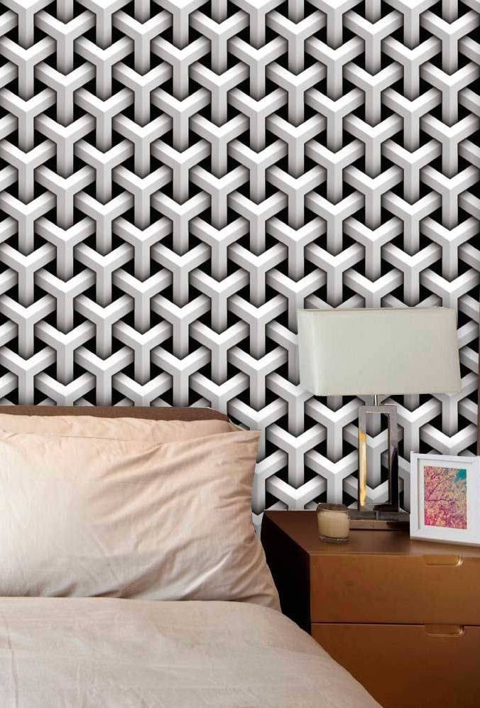 Fundo preto do papel de parede 3D aumenta ainda mais o efeito de profundidade e ilusão de ótica