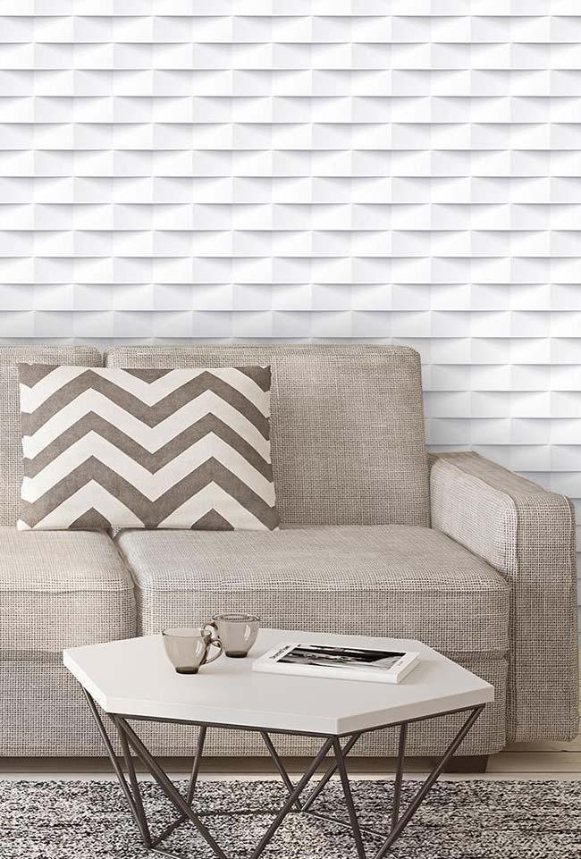 Papel de parede 3D branco com efeito semelhante a de tijolinhos