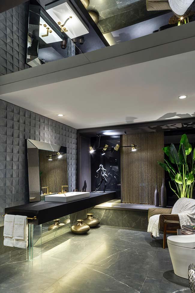 Um banheiro ainda mais sofisticado com o efeito 3D na parede