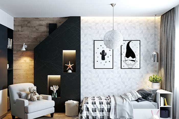 Quarto infantil de estilo moderno soube aproveitar o efeito do papel de parede 3D para a decoração