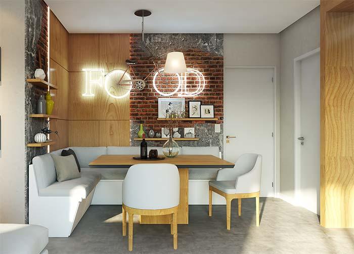 O estilo industrial também pode ser obtido com o uso do papel de parede 3D