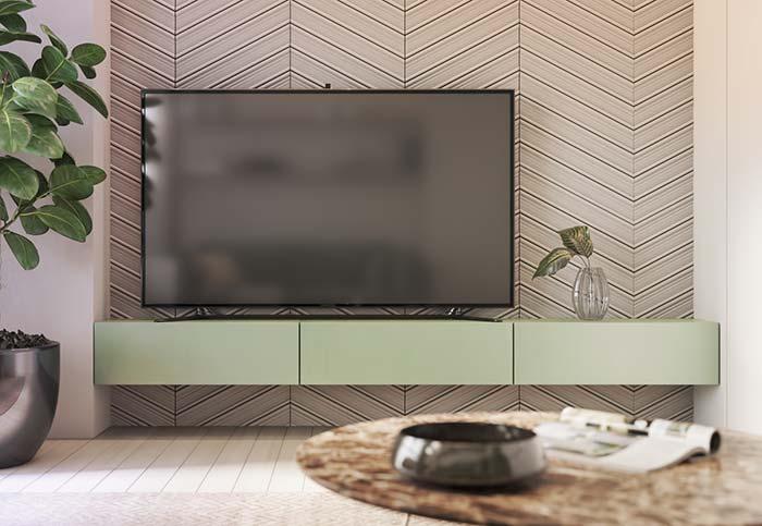 Papel de parede 3D com efeito chevron realça a parede da TV