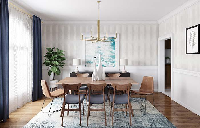 Sala de jantar de decoração neutra apostou no uso do papel de parede 3D