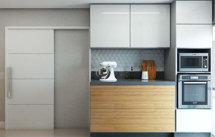 Um pequeno detalhe em 3D para valorizar o design da cozinha