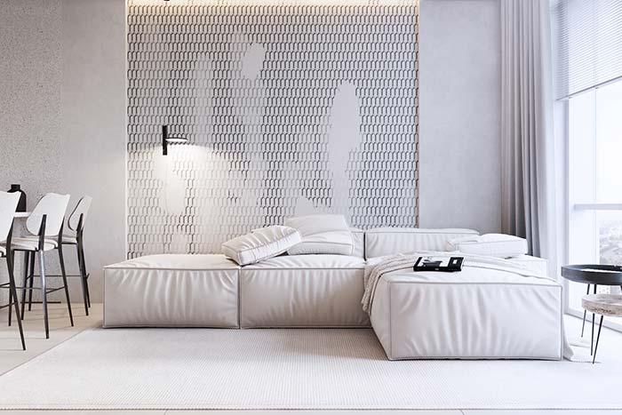 Papel de parede 3D também entra na decoração de estilo minimalista