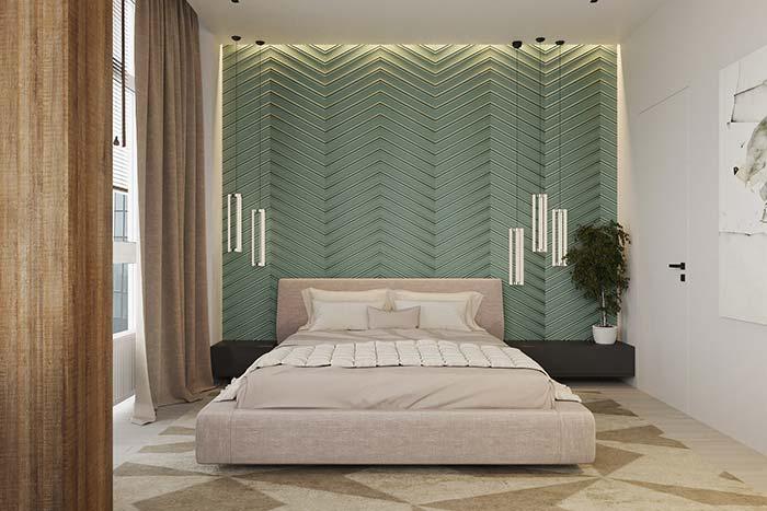 Aposte em um tom diferenciado para o papel de parede e renove o seu quarto