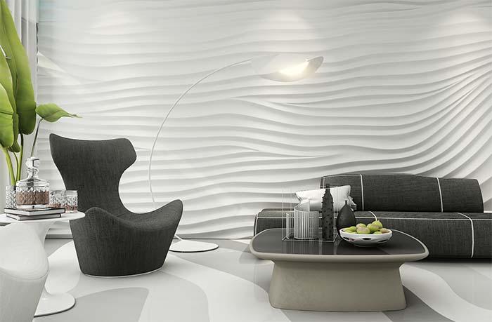 Volume, forma e profundidade em uma única parede e no mesmo revestimento
