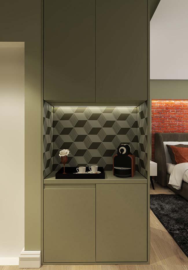Papel de parede 3D também pode ser usado para revestir móveis