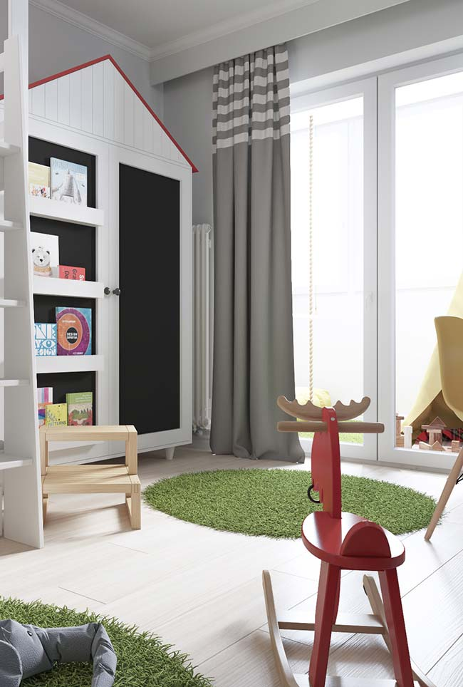 O cortineiro sobreposto desse quarto infantil ganhou uma cortina de tecido único