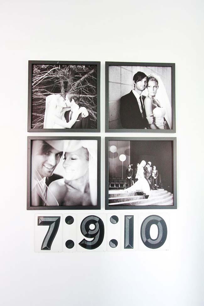 decoração da casa por quadros de fotos em preto e branco do mesmo tamanho