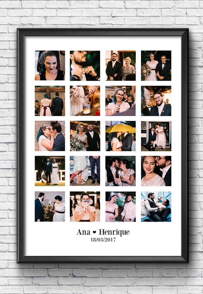 quadro de fotos traz a retrospectiva do dia mais especial da vida do casal
