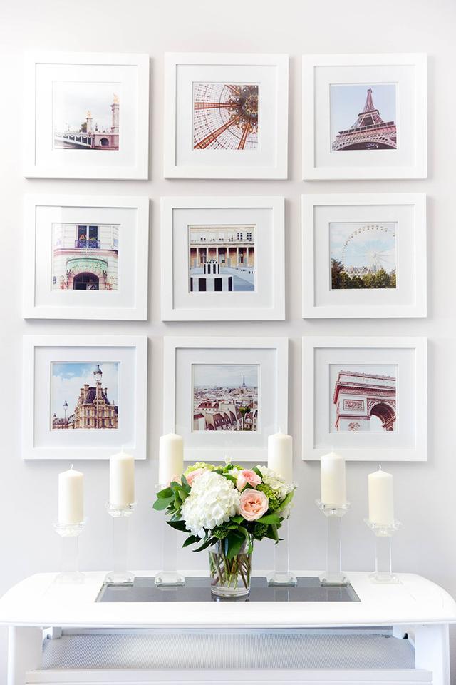 Uma forma bonita, clean e harmoniosa de decorar o ambiente com fotos