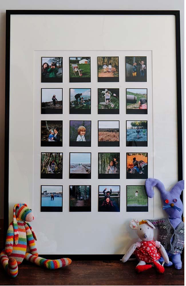 As fotos do tipo 'polaraid' foram as escolhidas para decorar o quarto infantil