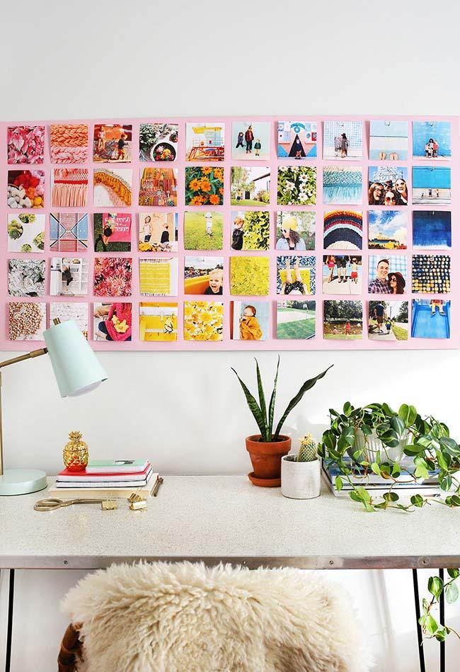 O home office fica mais divertido e colorido com o painel de fotos