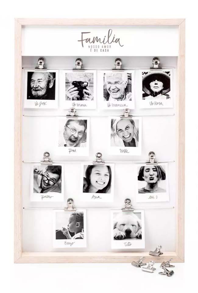 Uma ideia linda e super criativa: montar a árvore genealógica da família no quadro de fotos