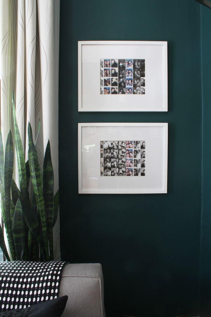 Parede de cor forte ganhou o contraste de dois quadros brancos de fotos
