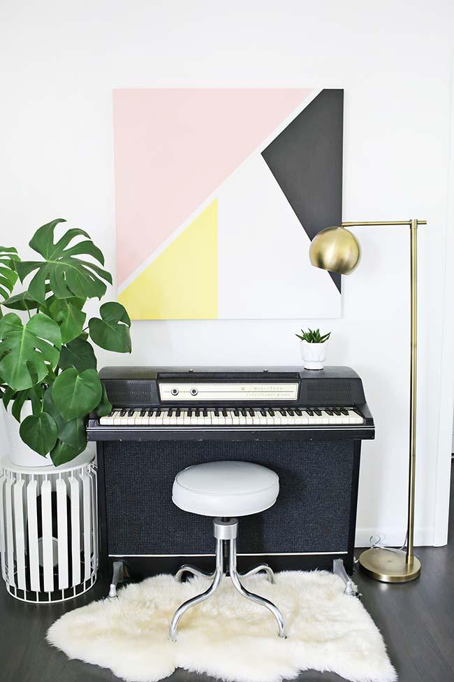 Visual da sala alterado com decoração faça você mesmo