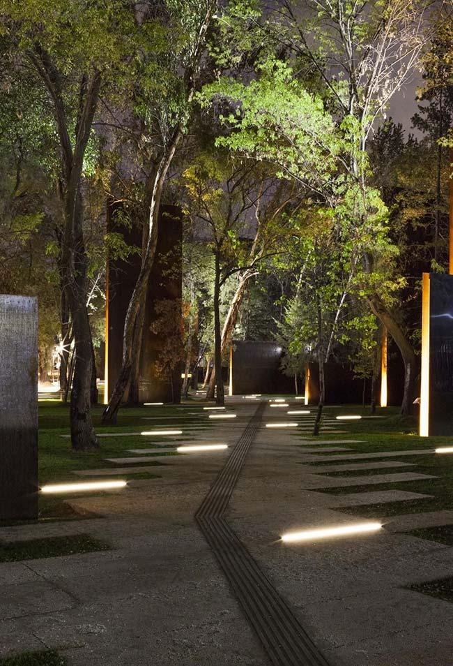 Nesse jardim de árvores frondosas, a iluminação foi instalada diretamente no chão