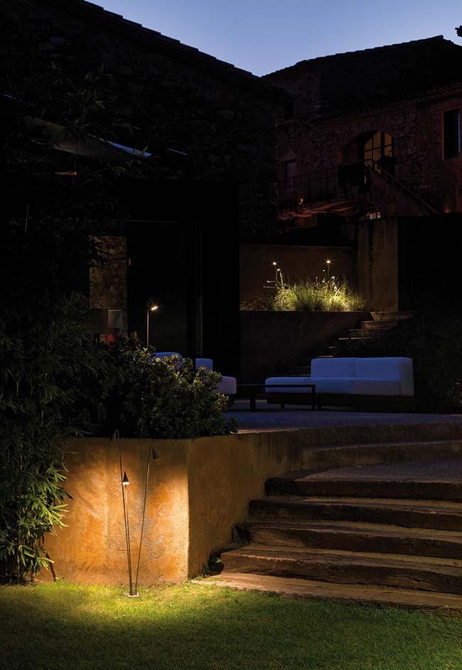 Nesse jardim, são os pontos focados e específicos de luz que se destacam