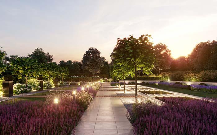 Nesse grande jardim, as luzes estão presentes de formas variadas e cumprindo diferentes funções