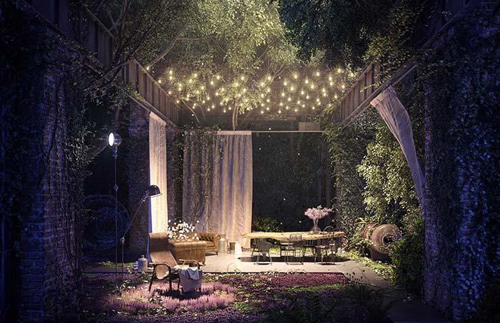Jardim de contos de fadas: a iluminação cinematográfica destaca pontos importantes do jardim com as luzes do chão