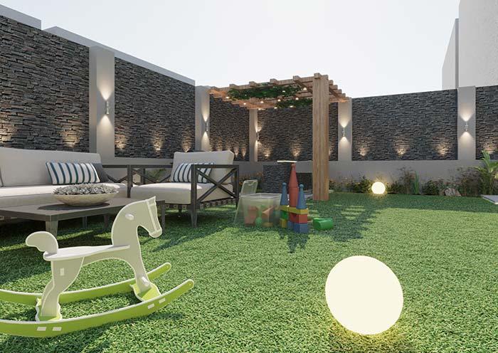 As crianças também se beneficiam da iluminação do jardim