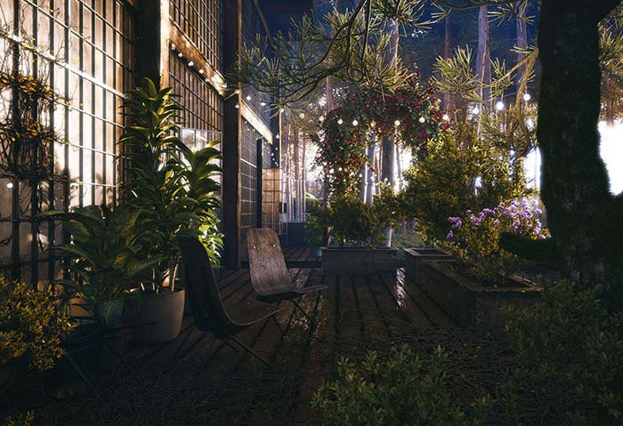 Jardim iluminado só com varal de lâmpadas