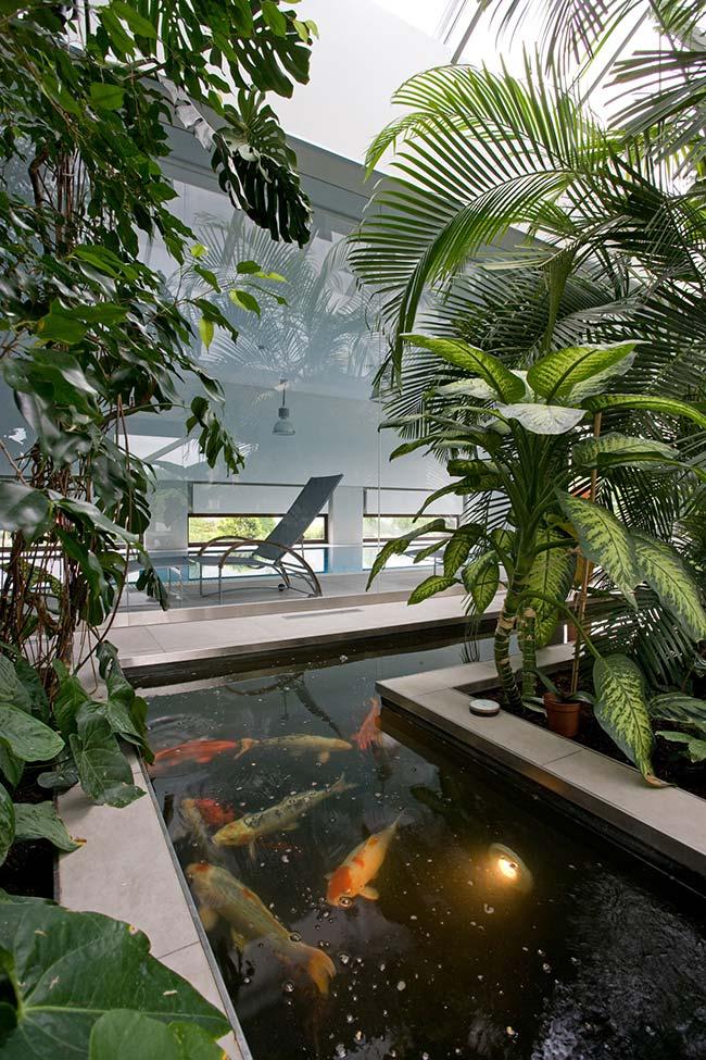 Dentro da água: a iluminação desse jardim foi instalada no mini lago, junto aos peixes